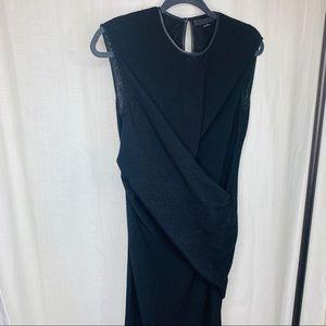 Alexander Wang Wool Knit Black Ruched Midi Dress!